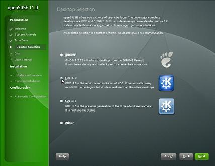Desktop Selection