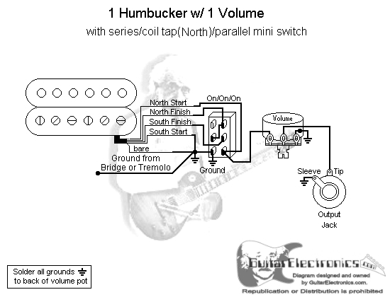 Pengkabelan Gitar Elektrik on wiring diagram one humbucker volume tone